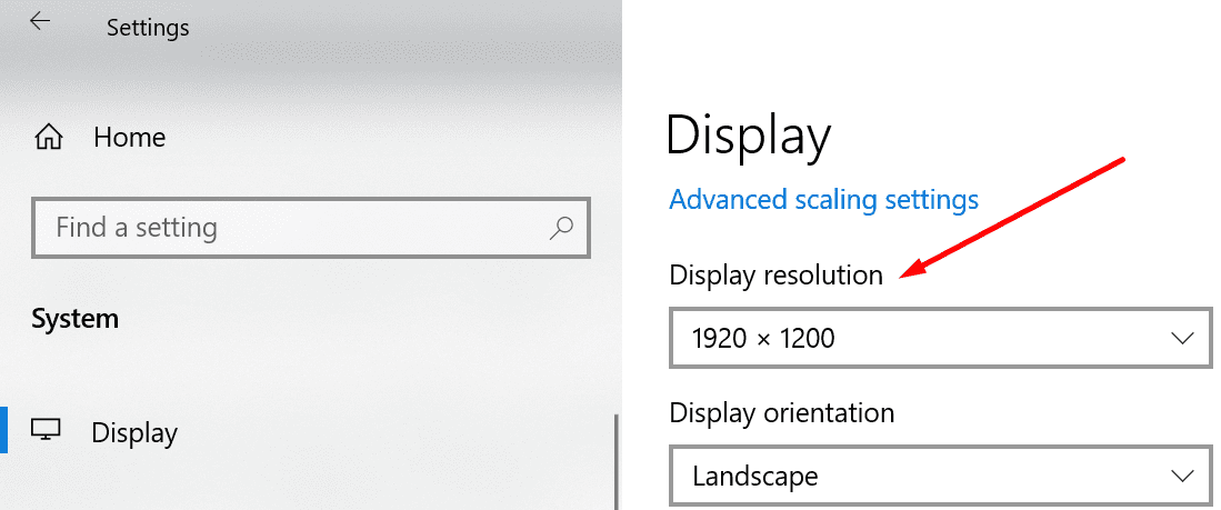 change display resolution windows 10