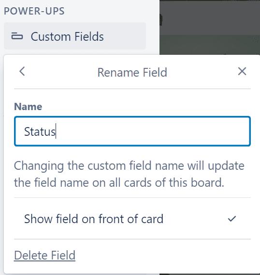 edit or delete custom field trello
