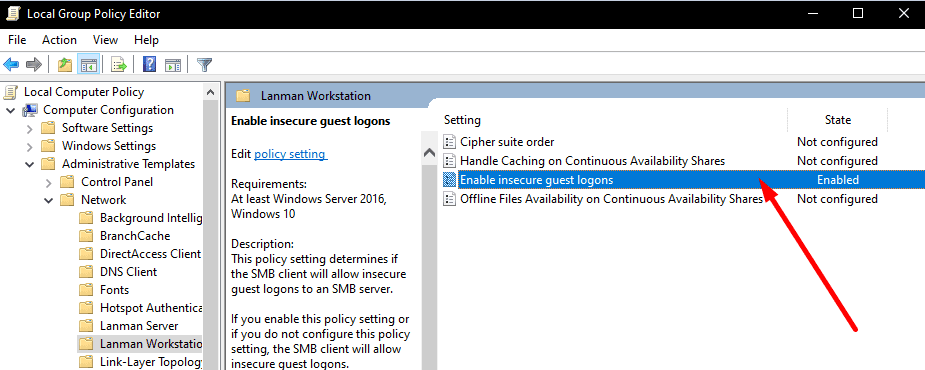 enable insecure guest logons windows 10
