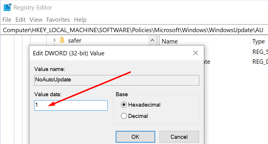 enable no auto update registry key