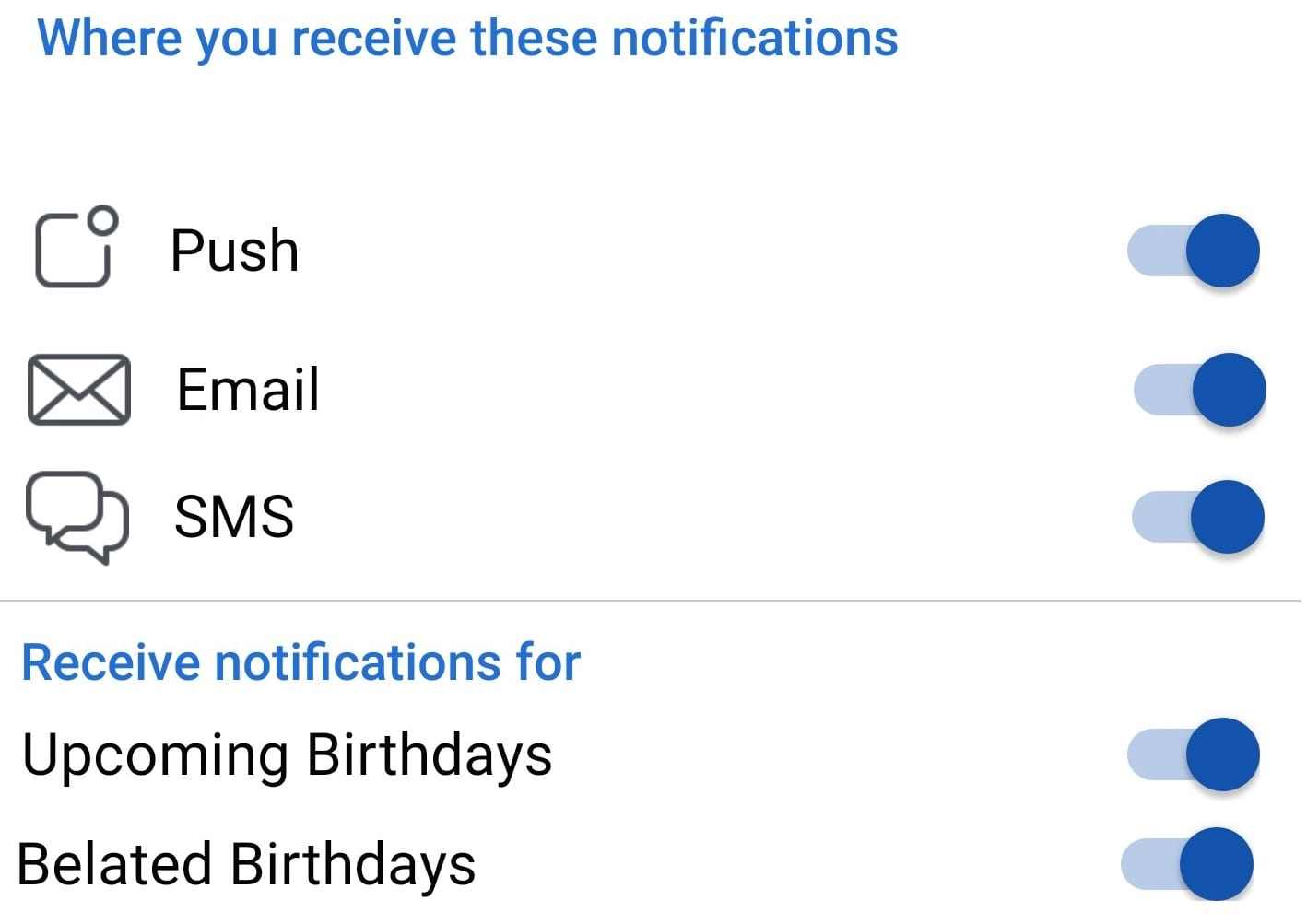 enable or disable facebook birthday notifications
