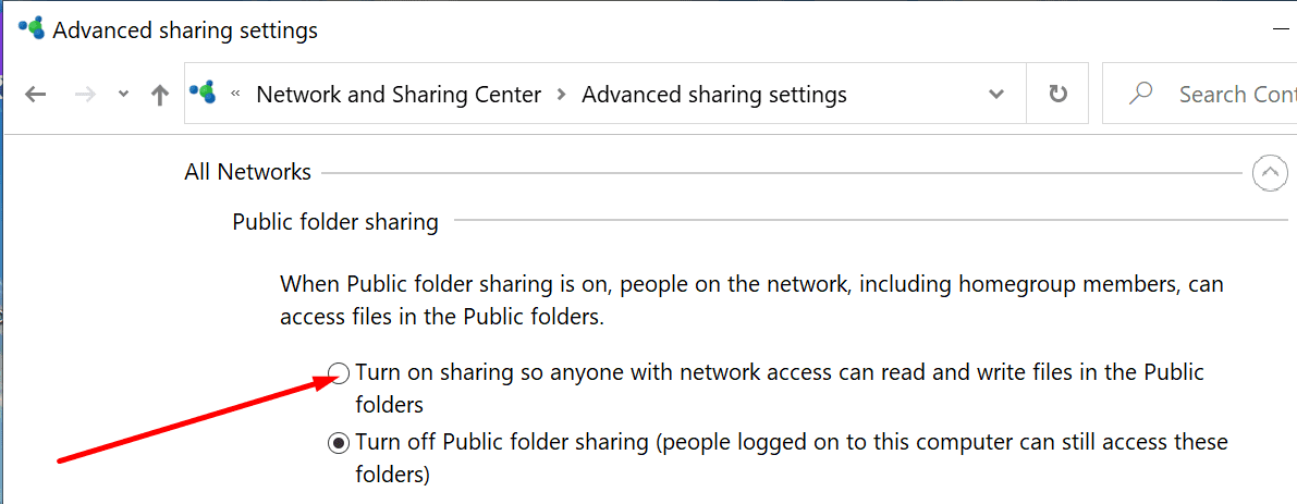enable public folder sharing