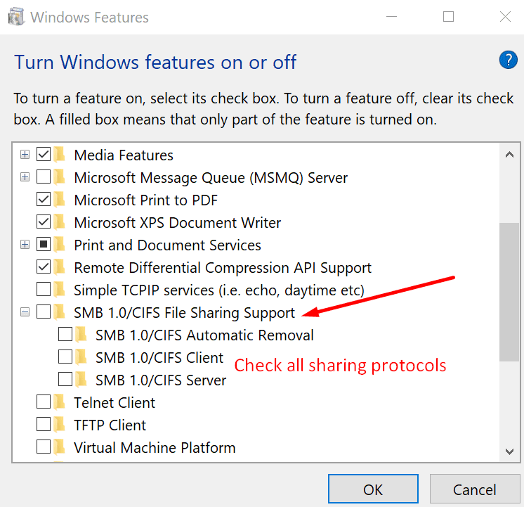enable sharing protocols windows 10