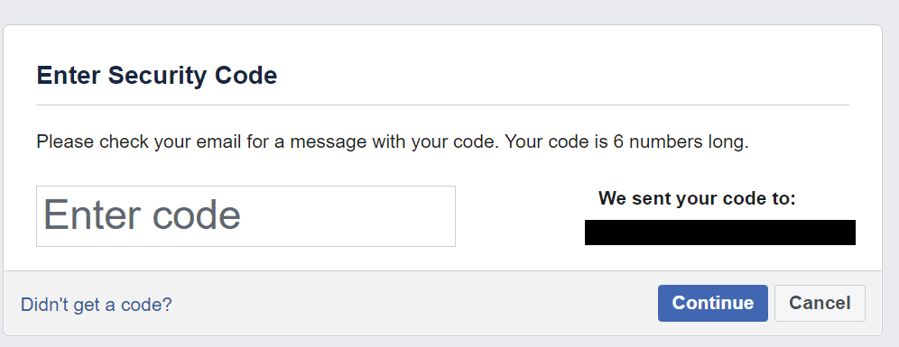 enter facebook security code