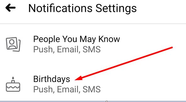 facebook birthday notification settings