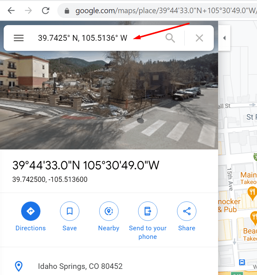 google maps coordinates search