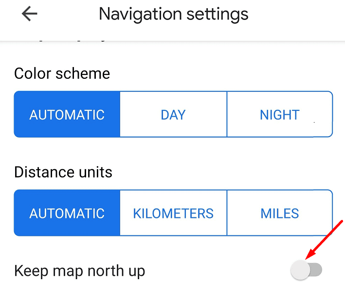 keep map north up google maps