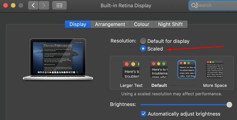 mac change resolution
