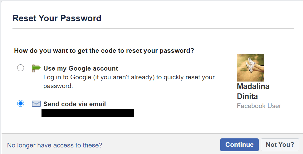 reset facebook password recover account