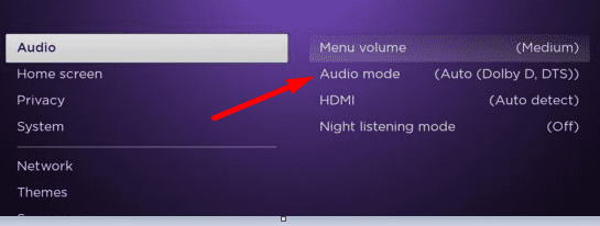 roku audio mode settings