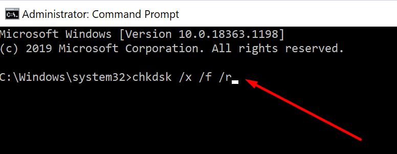 run chkdsk windows 10