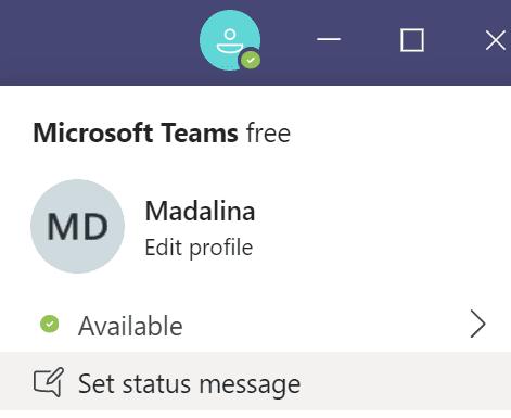 set status message microsoft teams