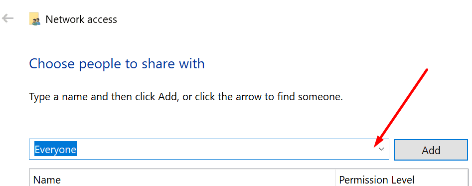 share folder with everyone windows 10