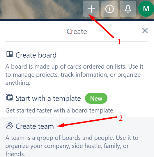 trello create team
