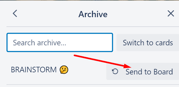 trello unarchive list