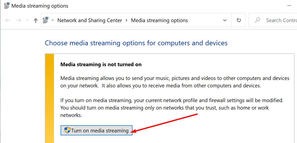 turn on media streaming windows 10