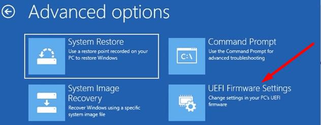 uefi firmware settings windows 10