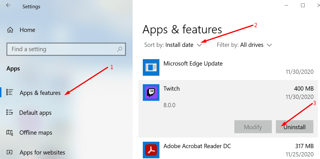 remove programs windows 10