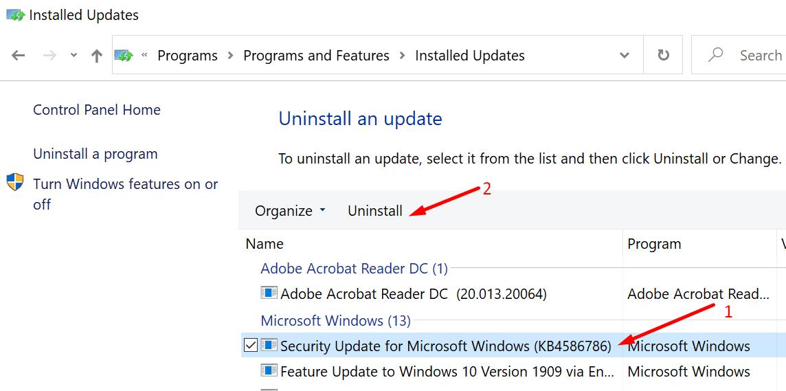 uninstall windows updates control panel