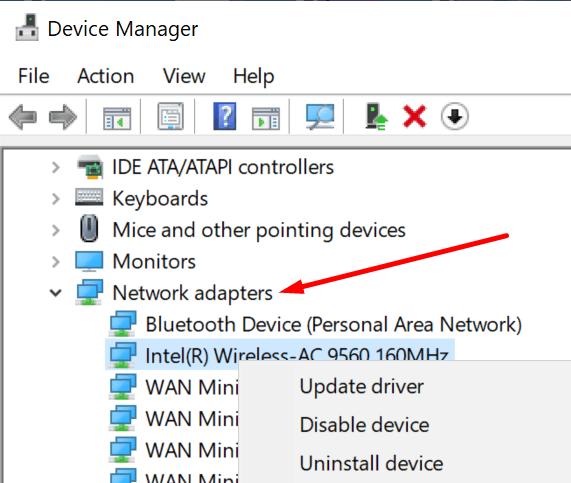 actualizar el controlador del adaptador de red de la pc