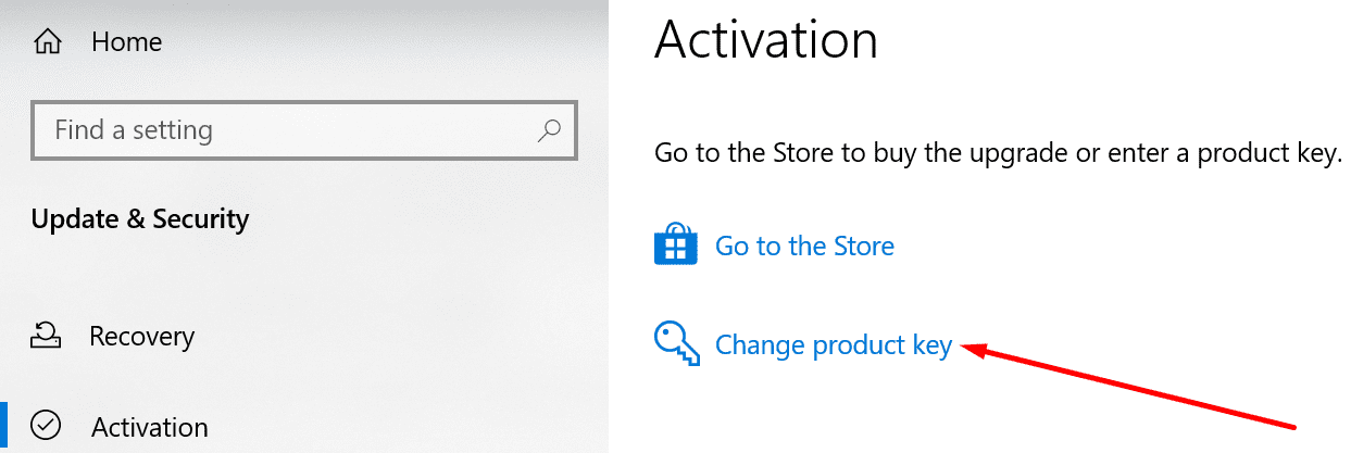 windows 10 activation change product key
