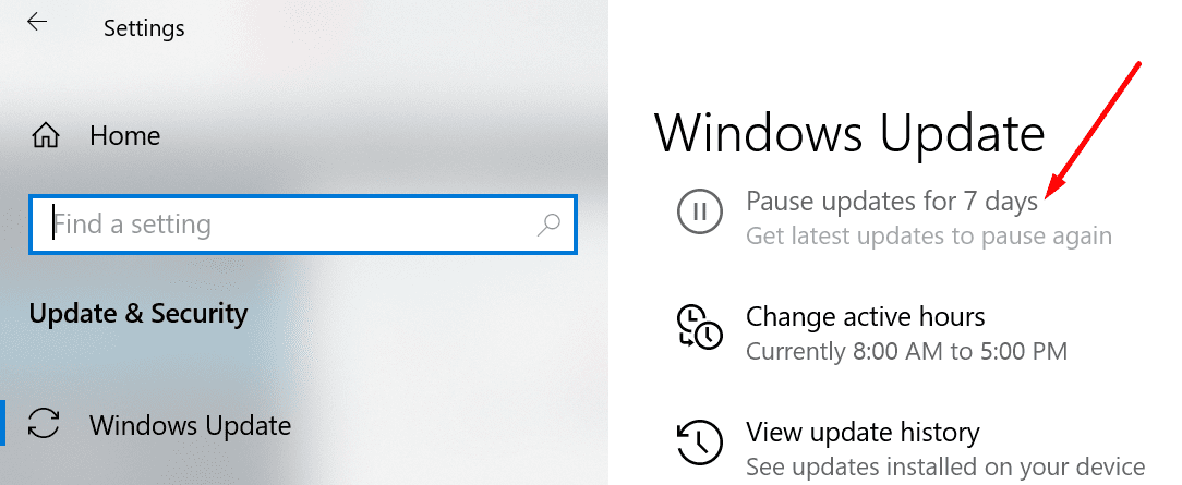 windows 10 pause updates for 7 days