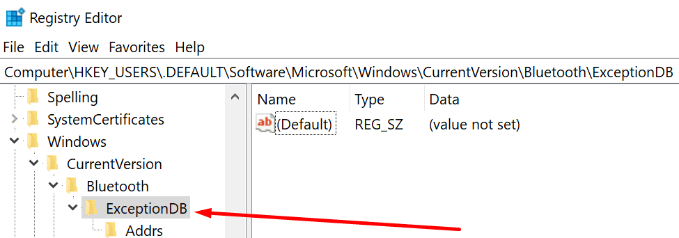 Bluetooth exceptionDB registry editor