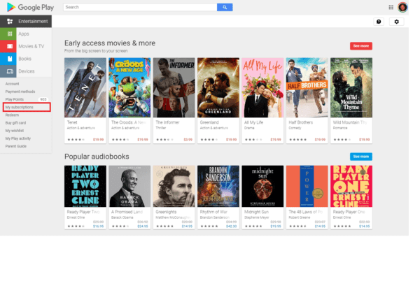 Manage Google Play Subscriptions Computer 1