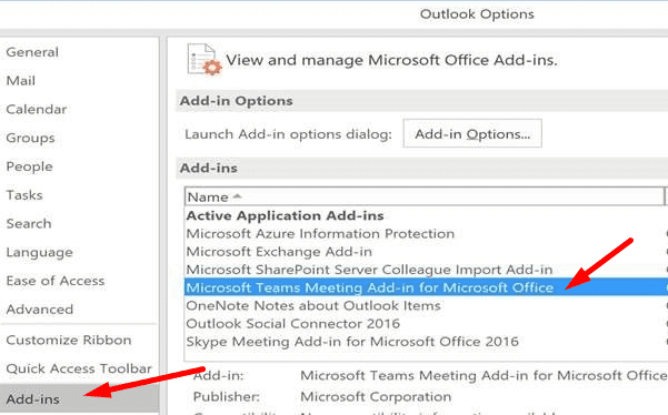 Microsoft Teams Meeting Add-in for Office outlook