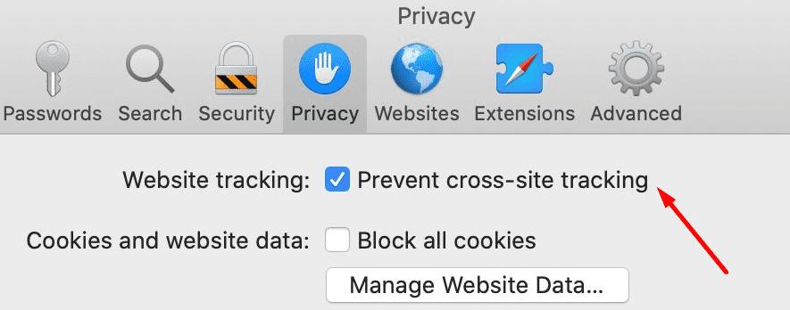 Prevent Cross-Site Tracking safari browser