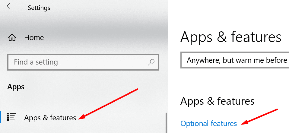 add optional features windows 10