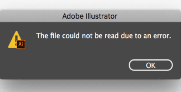 Adobe Illustrator: File Could Not Be Read Due to an Error