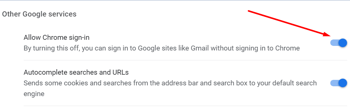 allow chrome sign-in