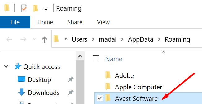 appdata delete avast