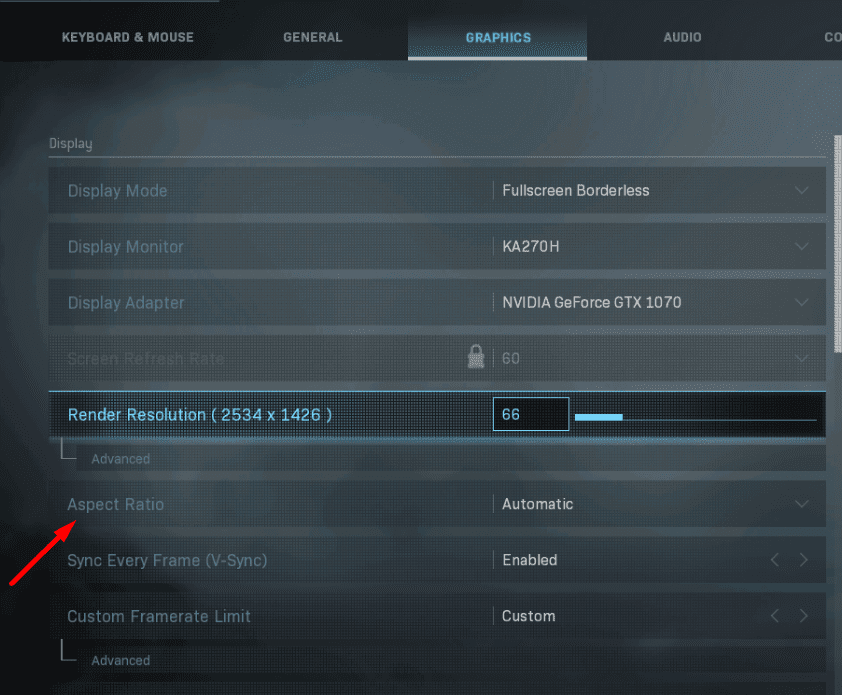 aspect ratio settings gaming