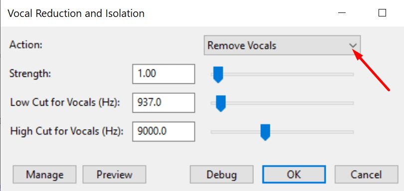 audacity remove vocals