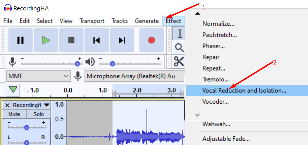 audacity vocal reduction and isolation