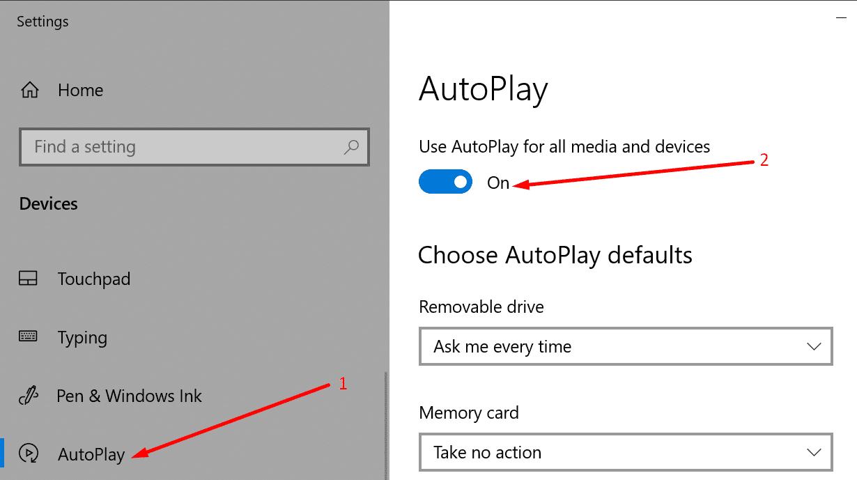autoplay settings windows 10