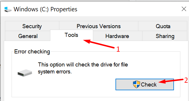 check hard drive for errors pc