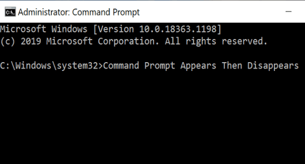Windows 10 Command Prompt Appears Then Disappears
