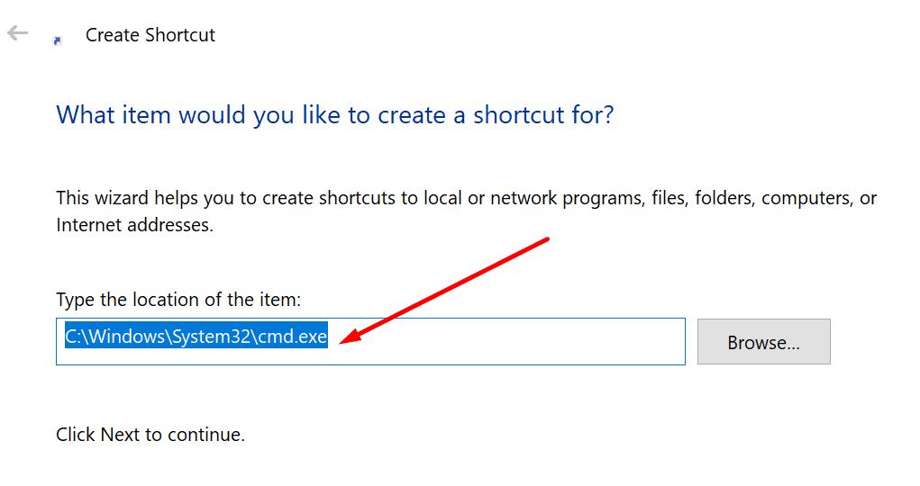 crear acceso directo cmd