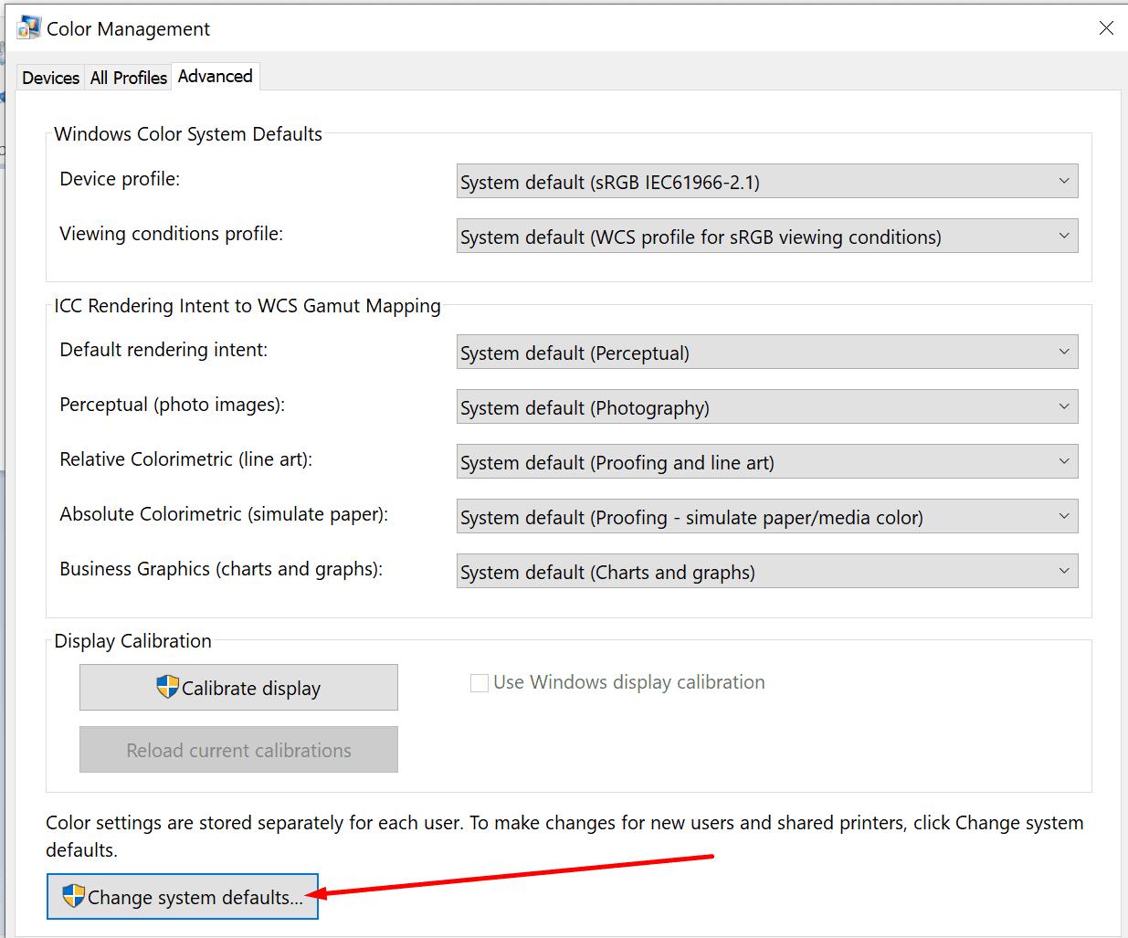 color management advanced change system defaults