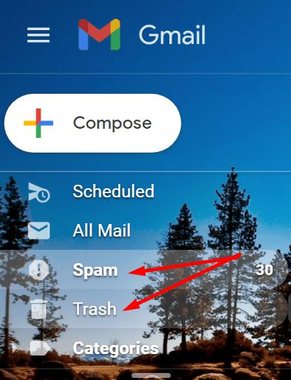 delete spam trash gmail