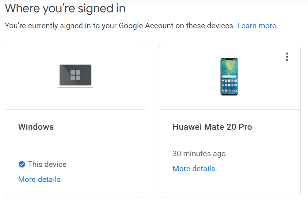 devices google account currently signed in