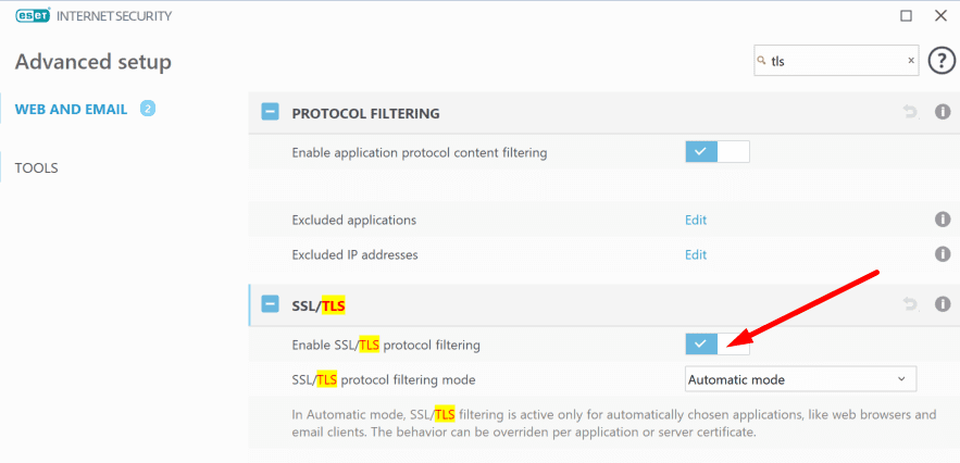 disable eset ssl tls protocol filtering