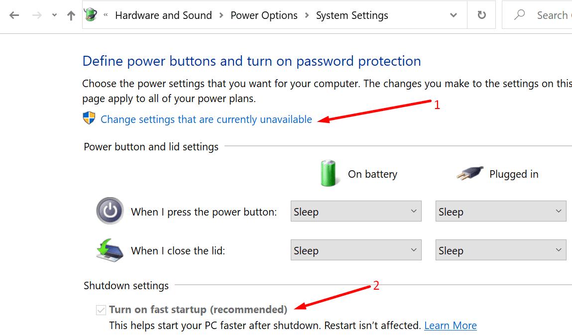 deshabilitar el inicio rápido de Windows 10