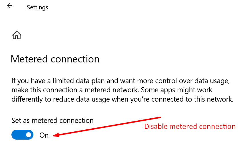disable metered connection windows 10