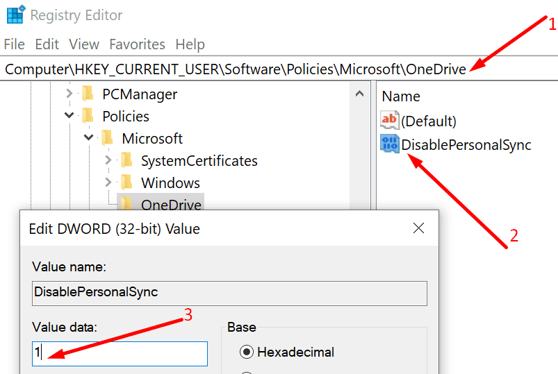 disable onedrive personal account sync registry editor