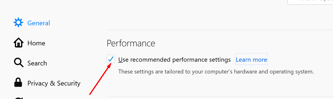 disable recommended performance settings firefox