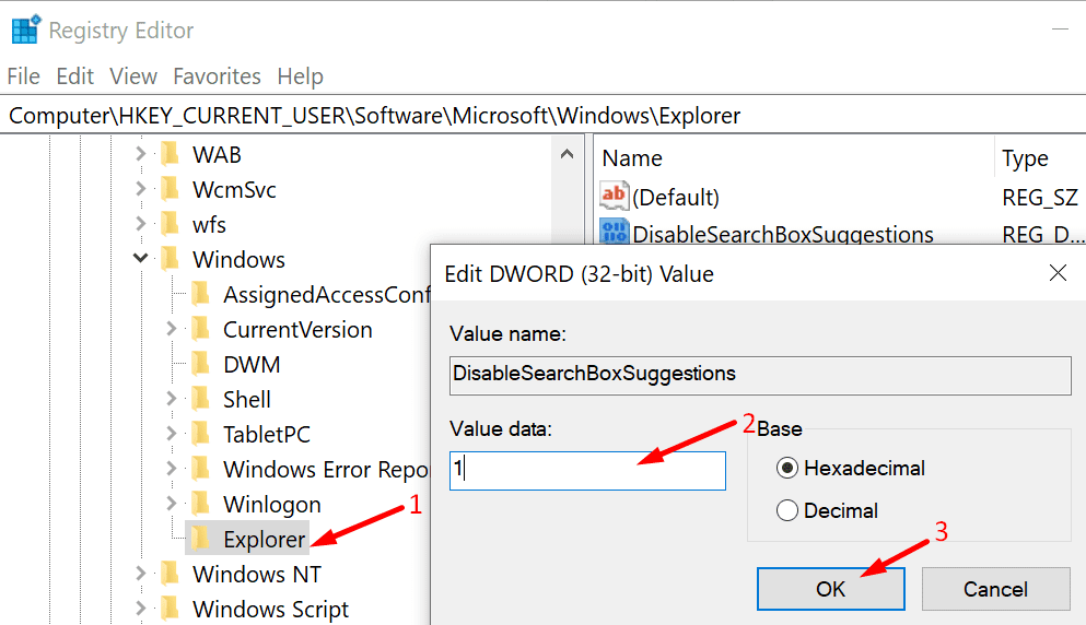 disable search box suggestions windows 10